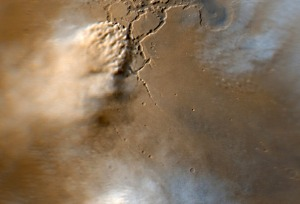 """bird's"" eye view of dust storm on Mars"